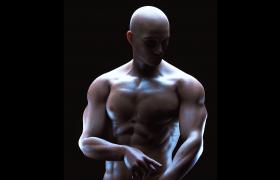 超寫實高精度肌肉男C4D動畫工程模型(帶綁定動畫)