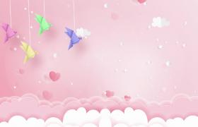 千纸鹤悬挂摇晃爱心云朵漂浮儿童节主题卡通视频素材