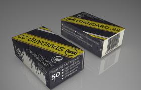 长方体纸质英文字母包装盒Ammo box C4D模型(obj,c4d)