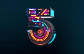 炫彩光效机械风数字组装展示5秒倒计时视频