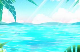 清澈海水蕩漾椰子樹清新搖晃夏日海邊卡通背景視頻