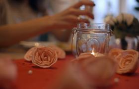 西餐厅内情侣享受情人节大餐4K实拍视频素材