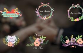六款精美花卉520小清新婚禮動畫logo標簽設計AE動態模板