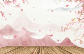 粉色花枝夢幻效果花瓣飄舞水墨古風后期特效視頻