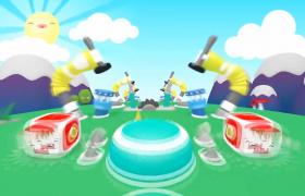 3D动画渲染游戏通道冲刺欢乐六一儿童节特效背景视频