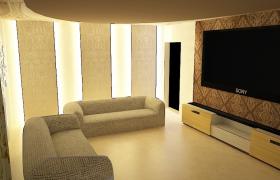 大屏影院級SONY客廳電視暖色系家居裝修場景3ds max模型