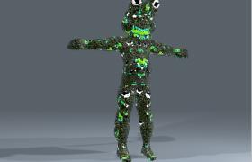 綠色海藻喪尸膿包變異體游戲npc角色3D模型(3ds,obj,c4d)