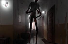 室內解密驚悚恐怖游戲NPC幽靈暗影人物角色3D模型(含動畫及場景)