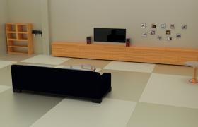 簡約一體式純色家具裝飾客廳室內場景cinema4d模型下載