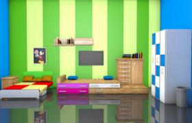 彩色條紋墻紙設計卡通兒童雙人間Living room 3D Models(c4d,obj,fpx)