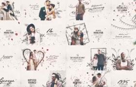 四種類別120個現代主義浪漫西式婚禮主題場景展示AE視頻模板