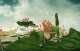 中國古風荷塘意境3D旋轉效果MP4動畫特效視頻素材