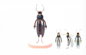 大黄蜂飞行员Hornet Aviator卡通人物角色雕塑C4D模型(含360°旋转动画)