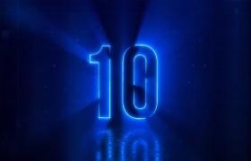 炫酷舞台光圈特效电光蓝10秒倒计时片头AE模板