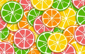 檸檬橙子切片鋪滿旋轉夏日小清新卡通特效背景視頻