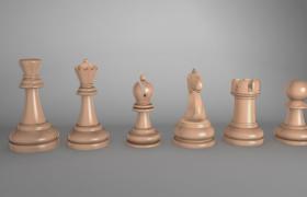 高光效果橡木材质国际象棋盘多边形C4D建模下载