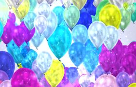 七彩气球梦幻缩放荧光粒子闪闪发亮儿童节特效背景视频
