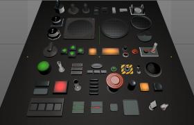 机械按钮/模拟器按键/急停开关/表盘C4D模型合集下载