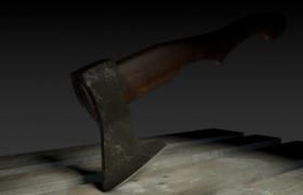 星仔斧头帮木质手柄战斧短柄黑社会武器C4D模型