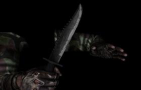 持刀恐怖分子第一視角迷彩貼圖游戲角色C4D模型