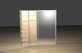 家用全镜面滑动门衣柜现代组合家具3D模型(3ds,obj,dae,blend,fbx,mtl,stl))