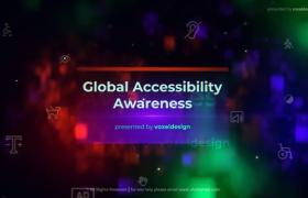 漂亮光效色差殘疾標志空間懸浮公益項目介紹ae模板
