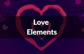 多组动态手绘爱心泛滥甜蜜幸福感爆棚的动画元素ae模板