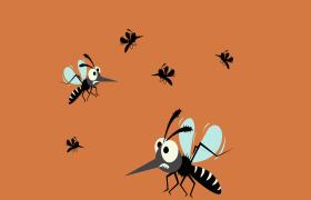橙色卡通背景可惡的蚊子到處飛舞創意動畫特效視頻
