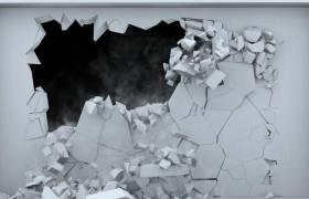 白色墻壁破裂倒塌3D既視感特效片頭背景視頻
