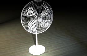 极致酷冷夏日电风扇四叶片落地扇c4d模型(含贴图)
