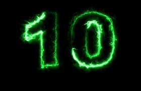 绿色神秘电光数字轮廓演绎10秒超炫倒计时视频