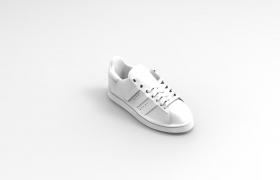 中性风格日常穿搭卡通小白鞋OBJ模型