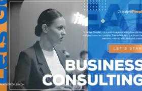 藍黃時尚拼接色大屏英文字幕滑動企業商務宣傳ae片頭