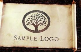中國古風三維書案仿舊卷軸拉開創意LOGO揭示ae模板