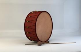 中空的木制圆筒大鼓槌打击乐器C4D模型(含贴图)