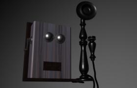1910西洋木质挂壁式复古电话/手摇老式电话C4D模型