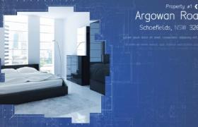 藍色商務背景線條框架設計的房地產宣傳主題ae模板