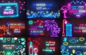 炫彩霓虹燈效文字logo主題字幕特效閃爍動畫AE模板