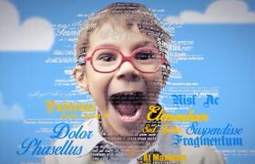 三维肖像创意儿童节人物填充效果AE宣传模板
