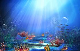 梦幻海底世界遨游珊瑚海草鱼群动态演绎MP4儿童欢庆背景视频