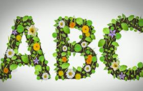 綠色樹葉生長清新簡約文字標題包裝特效動畫AE視頻模板
