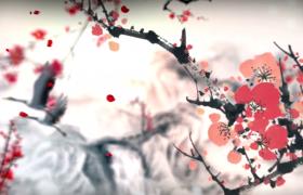 创意红梅水墨古风仙鹤山水晕染唯美芒种配乐视频素材
