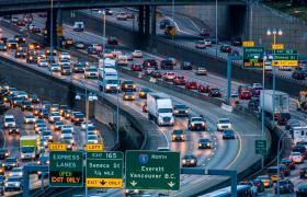 固定角度拍摄纽约立交桥车流往来画面4K实拍视频