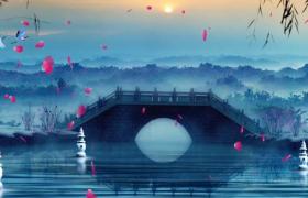中国风水墨江南静谧小桥流水芒种背景音效视频素材