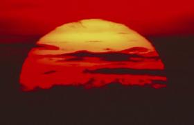红光夕阳剪影日落西山全过程MOV实拍视频