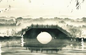 国画风小桥流水创意芒种舞台舞蹈背景视频素材