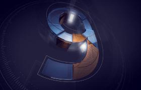 3D数字空间平躺翻转变幻商务科技风10秒倒计时视频