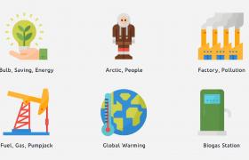 綠色地球環保主題多組創意趣味公益圖標動畫ae模板參考