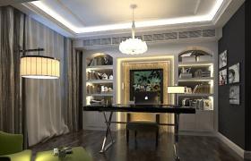 豪華室內設計歐式書房3維空間家居辦公場景3D模型(max)