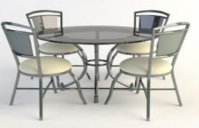 高品質歐式鐵藝家居用品高腳圓桌C4D模型